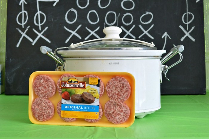 package of sausage and a crockpot