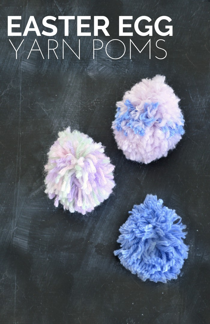 easter egg yarn poms