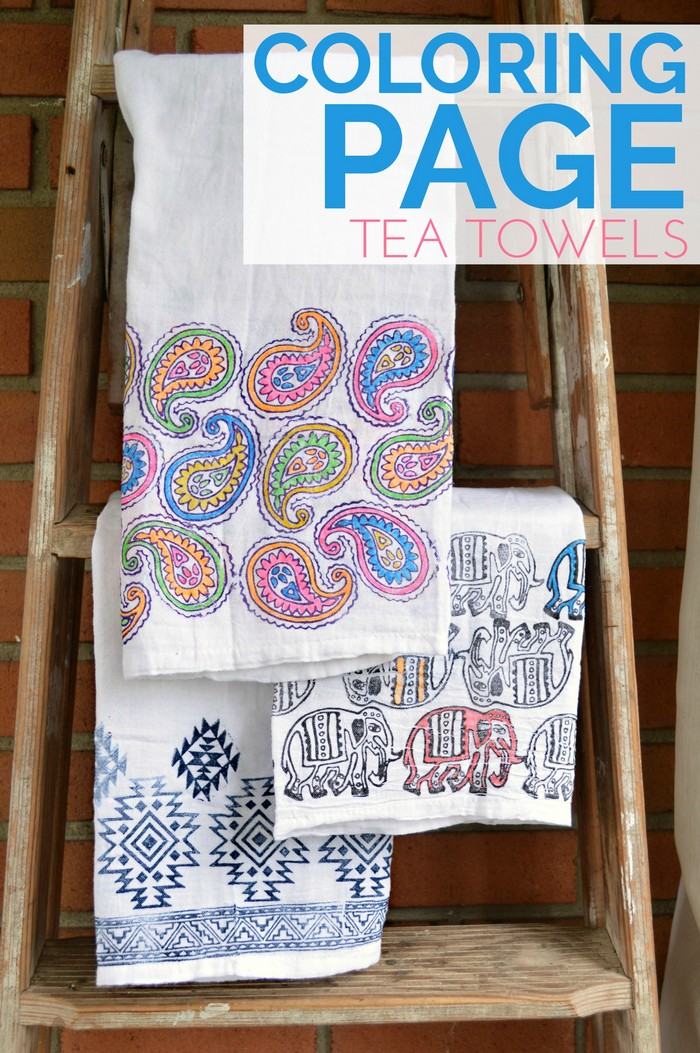 Coloring Page Tea Towels