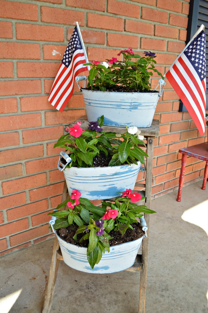 Red White Blue Planters