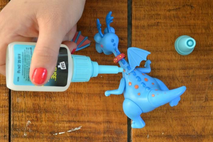 gluing toys back together