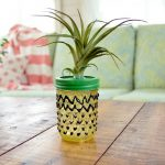 GLASS PAINTED PINEAPPLE MASON JAR
