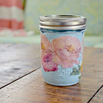 MOD PODGED FLOWER MASON JAR