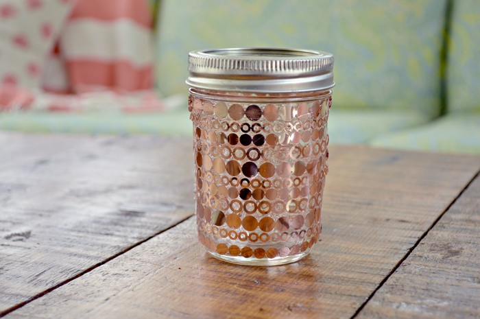 COPPER POLKA DOT MASON JAR