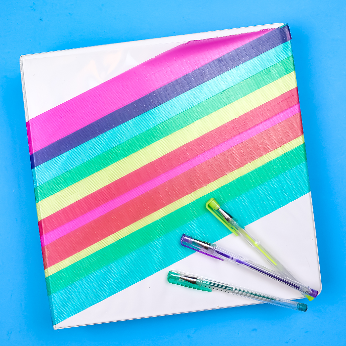 DECORATING A BINDER WITH TRANSPARENT DUCK TAPE