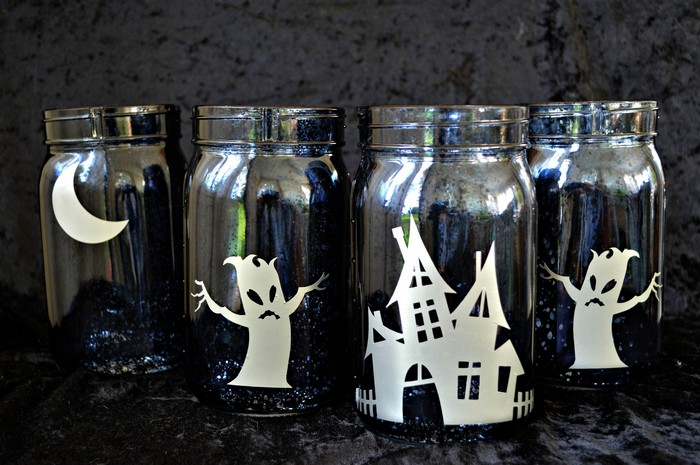 Vinyl on black mason jars