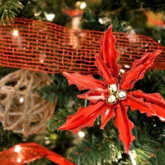 COUNTRY CHURCH TREE WITH DOLLAR STORE DECORATIONS
