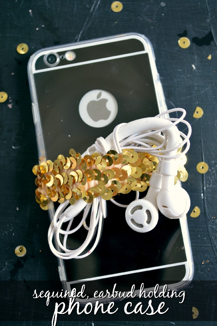 Sequin Earbud Holding Phone Case Tutorial