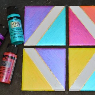 METALLIC COLOR BLOCK COASTERS WITH FOLKART COLOR SHIFT