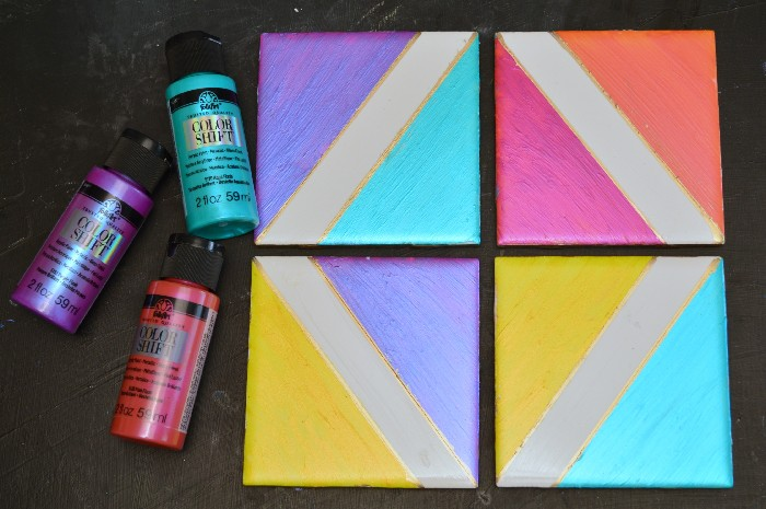 Metallic Color Block Coasters With Folkart Color Shift Mad