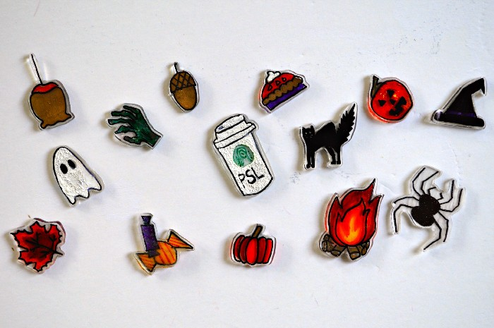 FALL AND HALLOWEEN FLAIR PINS WITH SHRINK PLASTIC