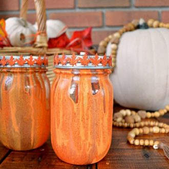 PAINT POUR MASON JARS FOR FALL