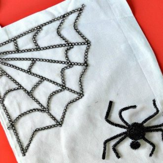 TRICK OR TREAT TOTE: RHINESTONE SPIDERWEB