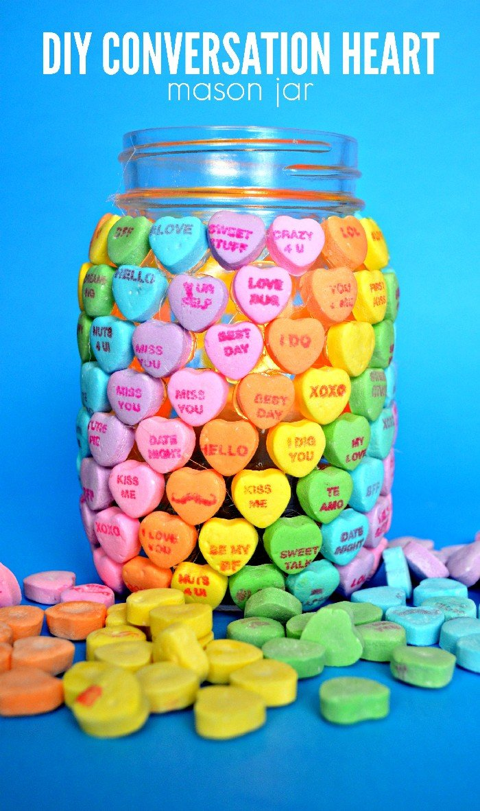 Candy Heart Mason Jar For Valentine S Day Valentine S Day Mad In Crafts