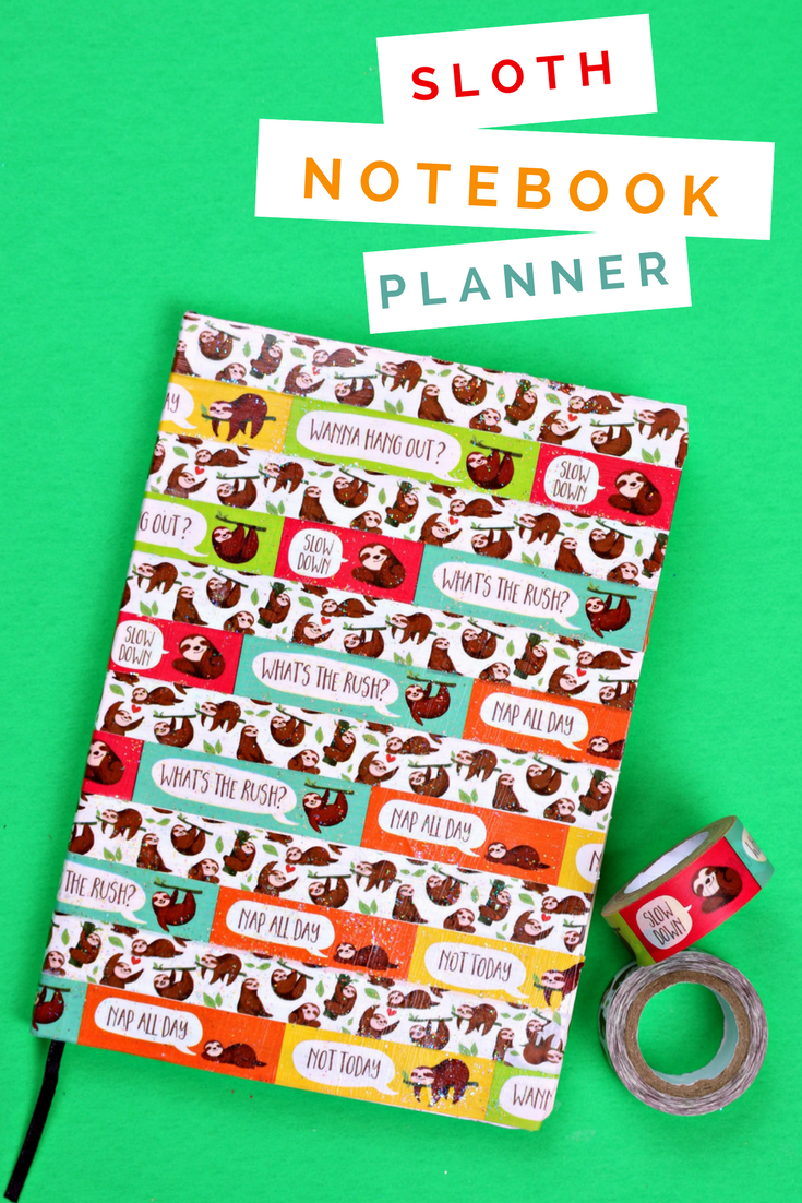 DIY SLOTH NOTEBOOK PLANNER