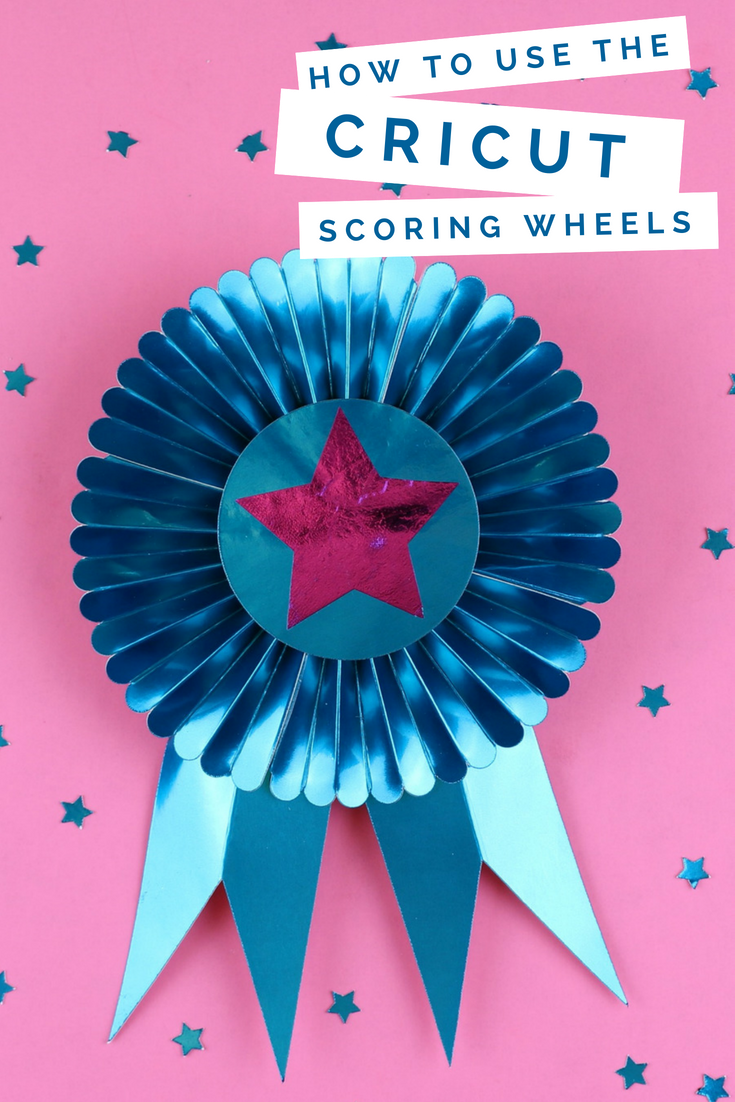 FOILED BLUE RIBBON WITH CRICUT SCORING WHEELS