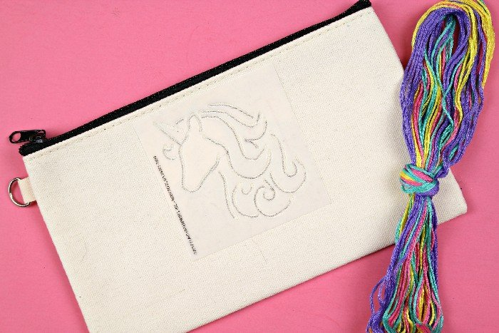EMBROIDERED UNICORN PENCIL POUCH