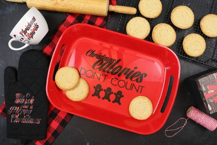 """CHRISTMAS CALORIES DON'T COUNT"" COOKIE TRAY"