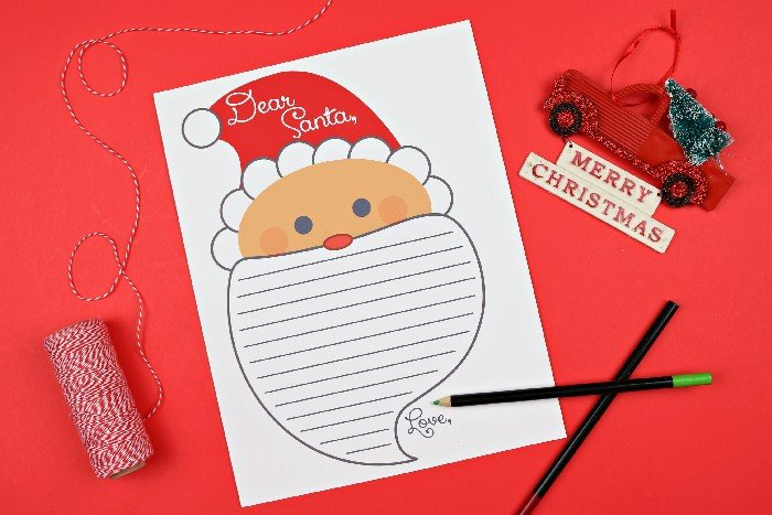 Dear Santa letter printable with pencils and ornaments