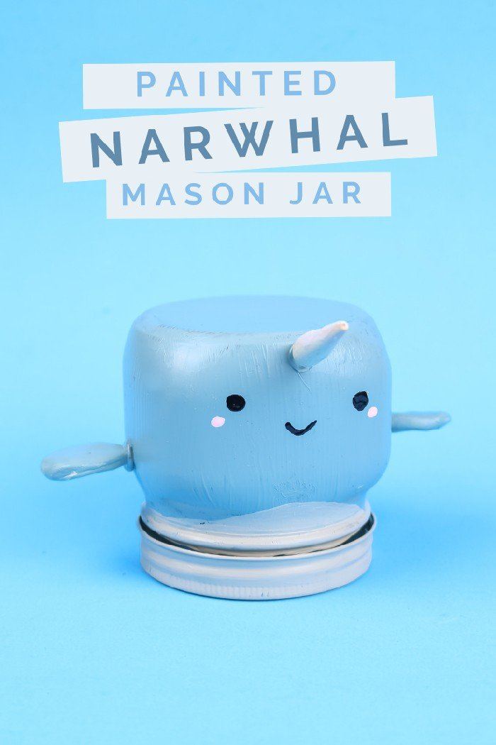 QUICK & EASY PAINTED NARWHAL MASON JAR
