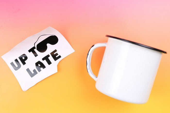 """UP TOO LATE"" VINYL MUG GIFT"