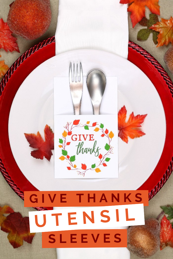 Thanksgiving utensil printable on a white plate with a red charger