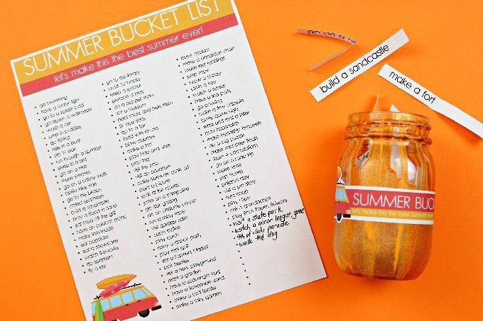 summer printable bucket list with a mason jar on an orange background