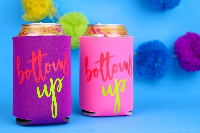 BOTTOMS UP DIY NEON IRON-ON KOOZIES