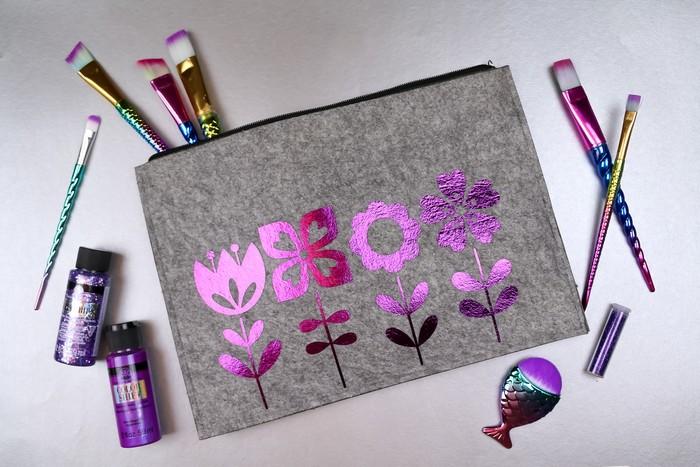 felt makeup pouch with purple foil vinyl