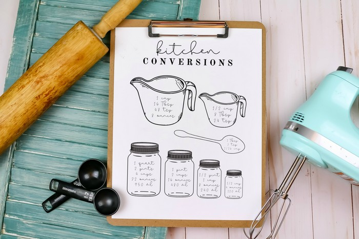 KITCHEN CONVERSION CHART PRINTABLE