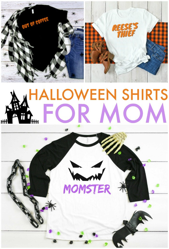 collage of Halloween mom shirt designs