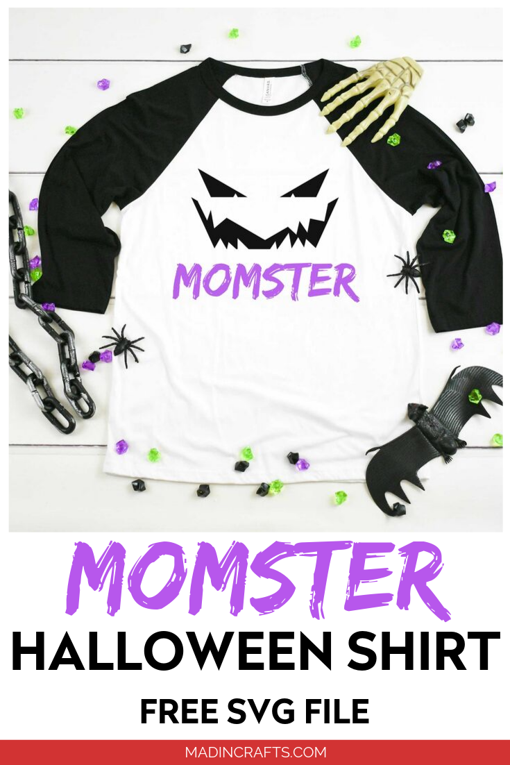 momster svg design on a t-shirt with halloween decorations