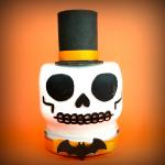 skull mason jar on an orange background