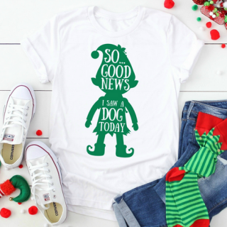 elf quote svg design on a t-shirt near jeans and christmas socks