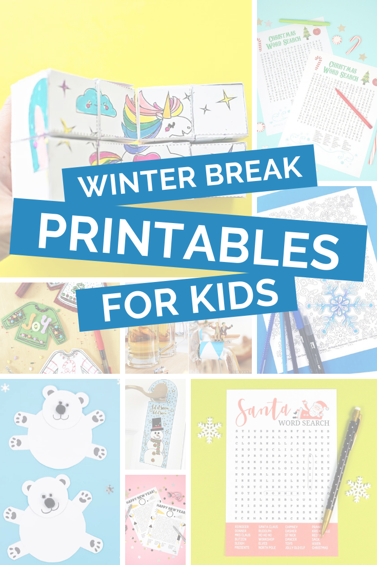 collage of winter printables for kids