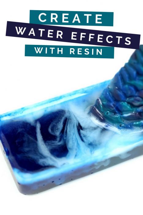Closeup of resin swirled to look like water