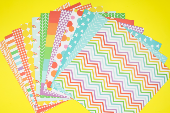 stack of colorful patterned scrapbook paper