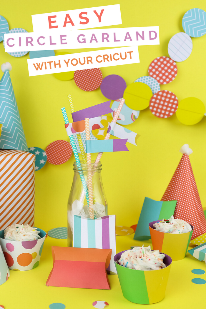 colorful diy paper party supplies made with Cricut