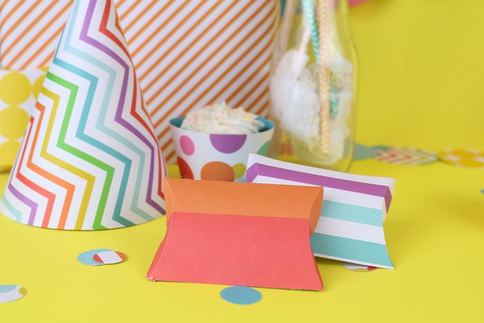 colorful DIY Cricut pillow favor boxes