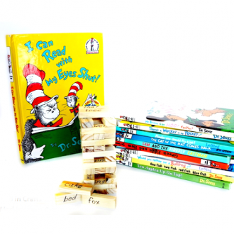 Dr. Seuss Jenga and stack of Dr Seuss books