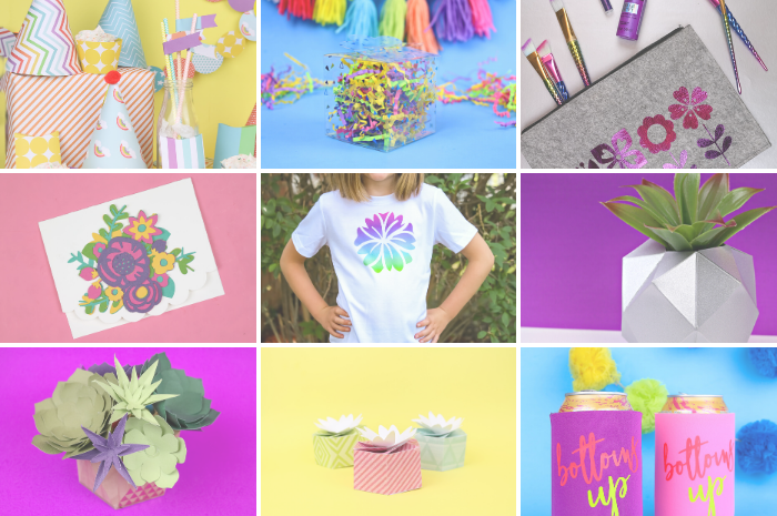 collage of colorful Cricut projects
