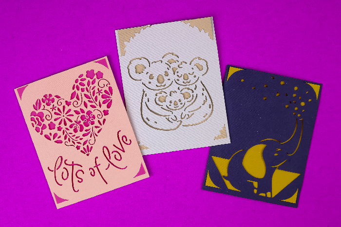 Cricut Insert Cards on a purple background