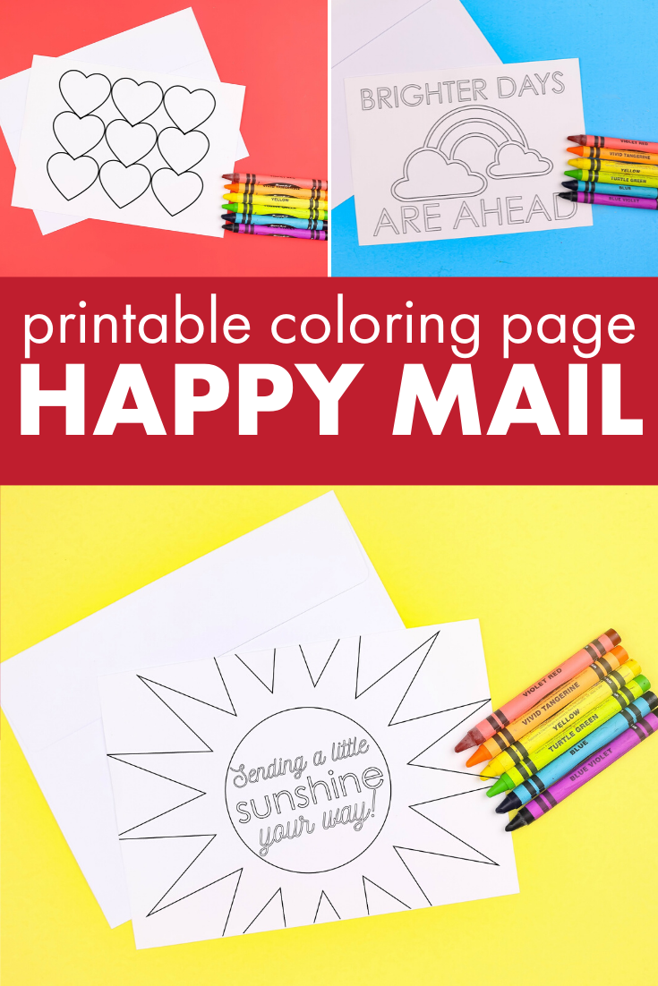 Collage of printable coloring page cards on colorful backgrounds with crayons