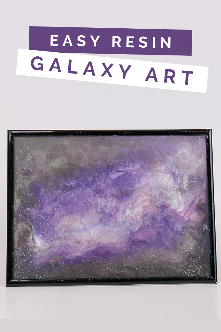 resin galaxy art frame on a white background