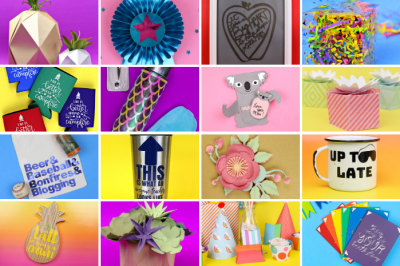 colorful collage of cricut maker projects