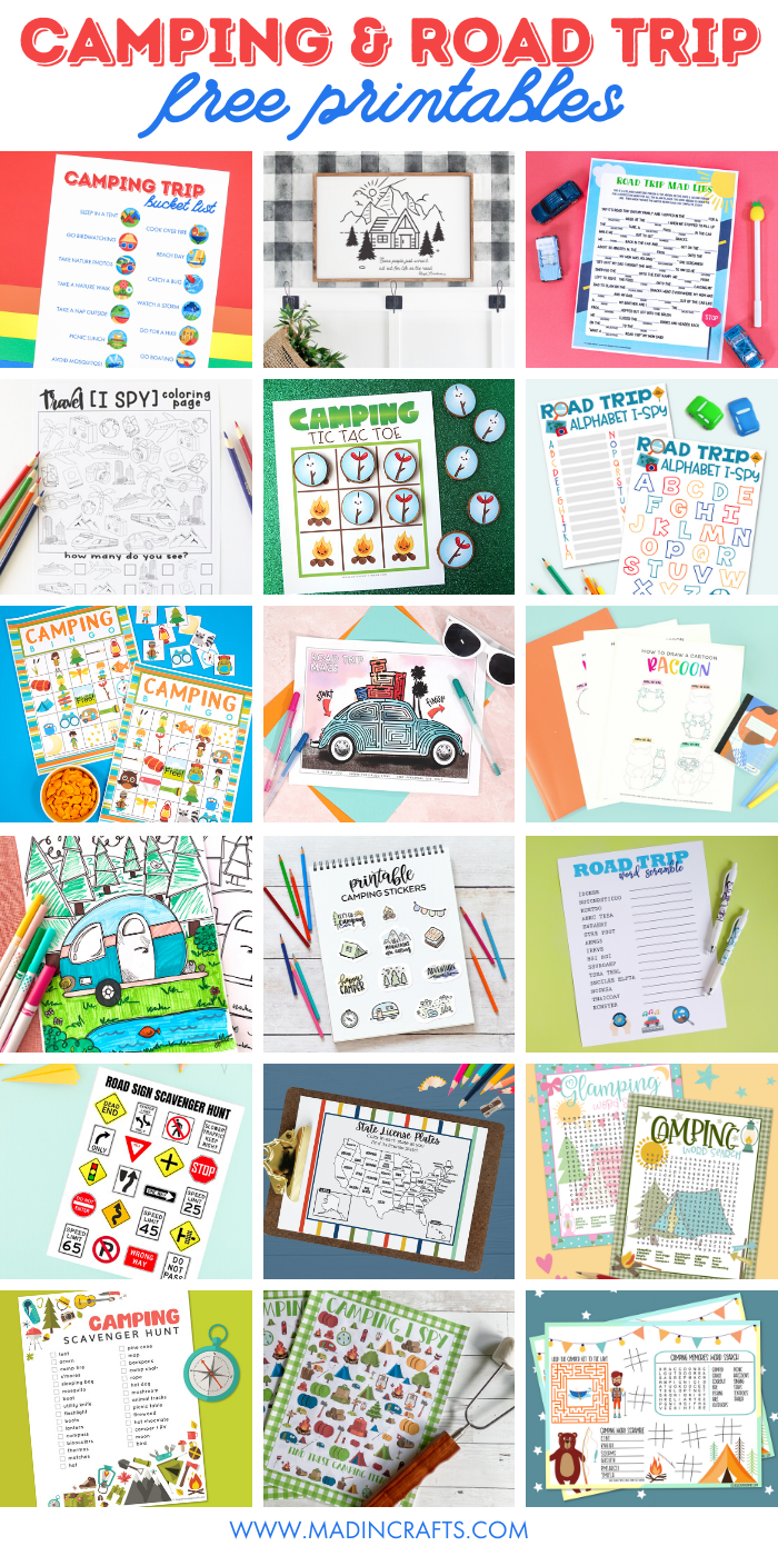 collage of camping and road trip printables