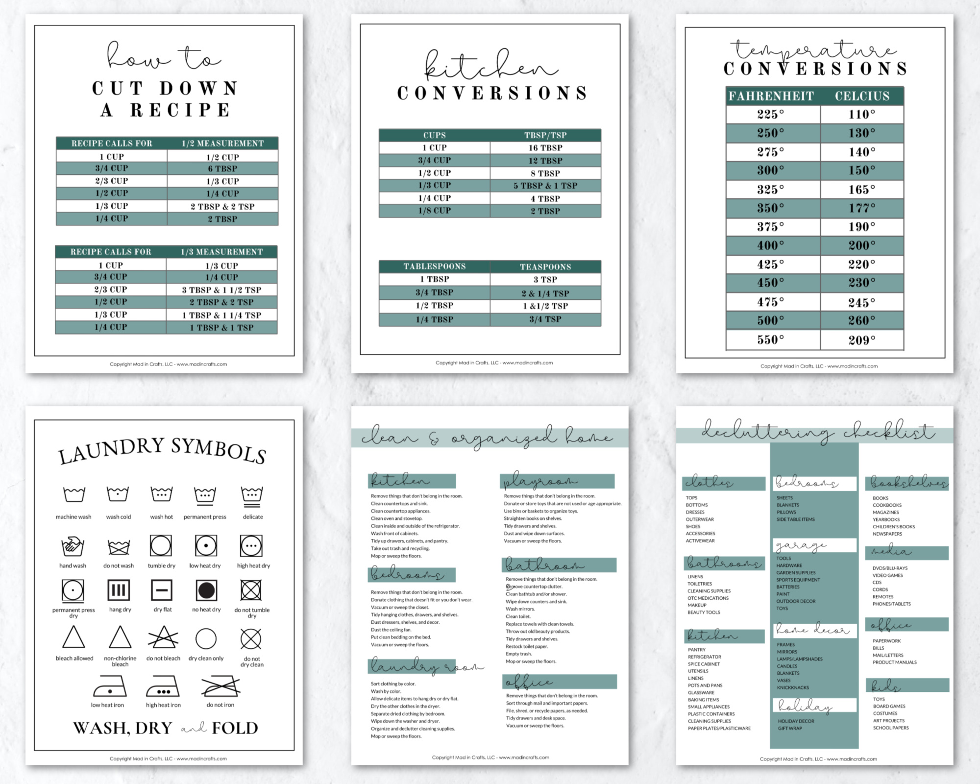 HOW TO HALVE A RECIPE – PRINTABLE CHARTS