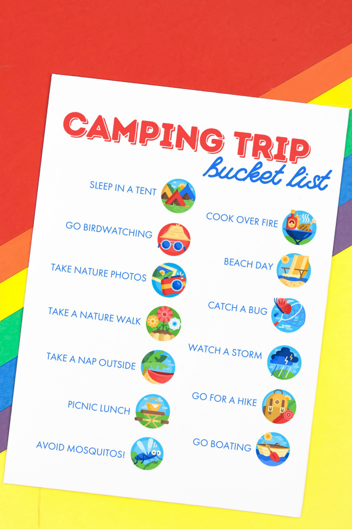 camping trip bucket list printable on a rainbow background
