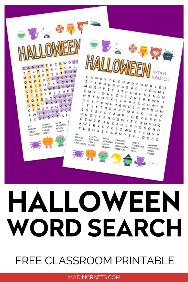 Classroom Halloween Word Search Halloween Mad In Crafts