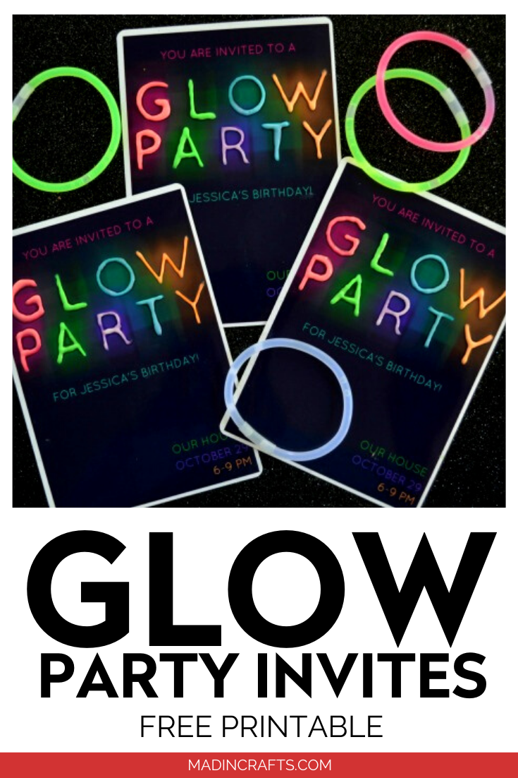 PRINTABLE GLOW IN THE DARK PARTY INVITATIONS